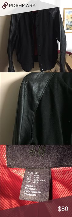 H&M leather and wool jacket 100% Leather and wool field jacket H&M Jackets & Coats Bomber & Varsity