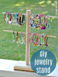 By assembling a few dowels, you can make a custom jewelry display DIY stand to show off your handmade pieces or to easily browse your fashion collection! jewelry display Jewelry Display DIY Stand: Step by Step - Consumer Crafts Diy Jewellery Display Stand, Diy Jewelry Stand, Jewelry Show, Best Jewelry Stores, Jewelry Making, Jewelry Storage, Earring Storage, Diy Bracelet Display Stand, Diy Jewelry Hanger