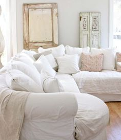Furniture, Shabby Chic Furniture Decor With Cool Door With White Color And Small Window  And Cozy Sofa With Pretty Cushions And Natural Wooden Floor: Shabby Chic Furniture Decor White Room