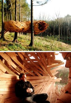 The Cocoon. Built by students from London's Architectural Association, it is a giant wooden cocoon suspended between the trees. It was visualized to be a quite getaway where dwellers can sit and watch the sun set.