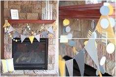 Decorations for the Yellow and Gray baby shower