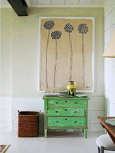Design Chic - love the green chest and the artwork