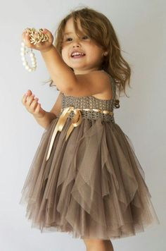 Taupe Baby Tulle Dress with Empire Waist and Stretch Crochet Top.Tulle dress for. - Taupe Baby Tulle Dress with Empire Waist and Stretch Crochet Top.Tulle dress for girls with crochet - Little Girl Dresses, Girls Dresses, Flower Girl Dresses, Dresses Short, Crochet Girls, Crochet Lace, Crochet Braids, Baby Tulle Dress, Robes Tutu