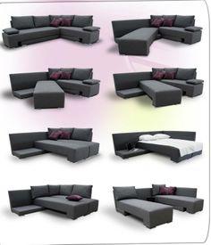 Los muebles multifunción como este sofá son una buena opción. Puedes convertirlo en 2 camas individuales o en una matrimonial y además puedes elegir el color que quieras!! ENCUÉNTRALO AQUÍ.