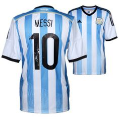 874349a093c Shop Lionel Messi Argentina Autographed Blue   White Back Jersey from your  favorite team at Fanatics Authentic.