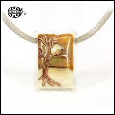 Tree in the Sahara. Soft glass cabochon for interchangeable pendants. (M2.5 screw nuts is melt into glass)