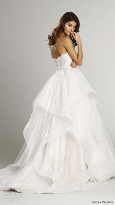 dresses strapless sweetheart neckline embroidered bodice cascade layer a line wedding dress av9551 back view