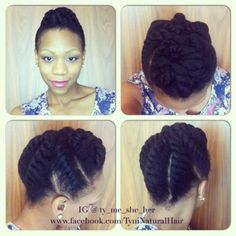 Chunky Flat Twist Updo for Neck Length or Longer - Natural Hair Rules!!!