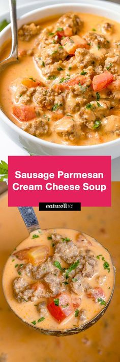 Sausage Parmesan Cream Cheese Soup - - A simple way to add warmth to your day - You'll enjoy every spoonful of this sausage parmesan cream cheese soup! - by recipes sausage Sausage Parmesan Cream Cheese Soup Cooker Recipes, Soup Recipes, Keto Recipes, Healthy Recipes, Recipies, Dessert Recipes, Sausage Soup, Spicy Sausage, Comida Keto