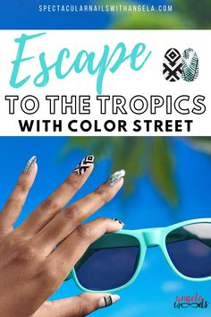Looking for a pretty summer nail art design? Escape to the tropics with Costa Rica Escape', a geometric shape and island foliage design - so perfect for the beach! You're going to become obsessed with this pretty black and white nail art. Rock summer with this unique nail art design. Instantly graduate your nail art design from basic to brilliant in minutes. Shop now and get a perfect for the beach summer nail polish idea with Color Street! #nailpolishcolors #blackandwhitenails Summer Fashion Trends, Summer Fashion Outfits, Summer Dresses For Women, Black And White Nail Art, Summer Nail Polish, Summer Vacation Outfits, Color Street Nails, Pretty Black, Simple Outfits
