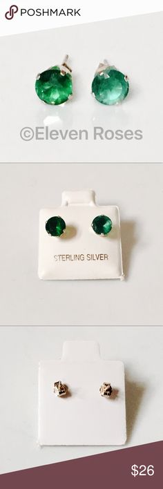 Sterling Silver Stud Earrings Emerald 6mm 1.50 CTW 1 Pair of Solitaire Stud Earrings - 925 Sterling Silver Emerald Green CZ Stones Measure Approx 6mm (Approx 1.50 CTW) - Posts & Butterfly Backs (for pierced ears) - All Posts & Backs Hallmarked 925 - Worn Alone or With Enhancer / Stud Jackets (sold separately) - NWT On Cards -    📷  Listing Images Are Of Actual Item Being Offered Sterling Silver Jewelry Earrings