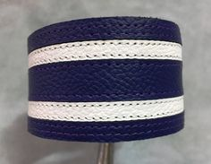 Purple and white striped leather bracelet cuff - leather braclet. by ChristyKeysCreations on Etsy