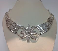 Filigree Hand Made Sterling Silver  Choker Necklace by Masterpearl