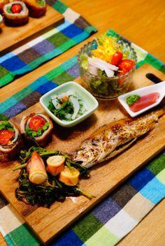 こちらは一人分の夕食をワンプレートにまとめるアイディア♪焼き魚やお刺身などの和食も、カフェで頂いているような気分になれます。