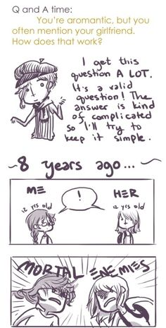Noon:30, You're aromantic but you have a girlfriend?! What?!  .... Whole comic at the link! ^_^