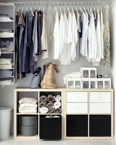 Reach-in closet space with sliding doors and IKEA furniture and fittings. - Ikea DIY - The best IKEA hacks all in one place Ikea Closet, Closet Bedroom, Closet Space, Home Bedroom, Ikea Wardrobe, Bedroom Ideas, Smart Closet, Bathroom Closet, Ikea Bedroom