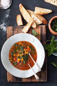 This minestrone soup recipe is a hearty mix of seasonal veggies flavoured with basil pesto - yum! South African Recipes, Ethnic Recipes, Basil Pesto Recipes, Bean Soup Recipes, Food Crush, Italian Recipes, Food Photography, Winter, Soups