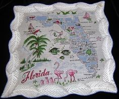 Florida State Map Handkerchief Blue Colors Mint with Tag Beauty! $16.99