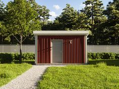 Small storage with nice red wood with some stain. Old red wood, modern design. beautiful simple and nice. Gravel Path, Green Environment, Red Wood, Swedish Style, Small Storage, Paths, Lawn, Modern Design, Houses