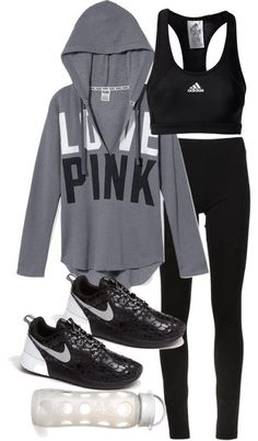 Grey Victoria Secret Pink hooded sweatshirt, black running tights, black and white leopard print Nike Roshe Run shies, black Adidas sports bra