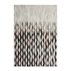 Krémovo-sivý kožený koberec Eclipse, 160x230cm