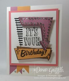 Stampin'Up! Marquee Messages stamp set. Brand new stamp set from the 2016/17 Stampin Up! annual catalog  which goes live on June 1, 2016 . Click this link to view more details on this card http://www.dawnsstampingthoughts.net/2016/05/painters-palette-birthday-cards-.html   . Dawn Griffith Stampin'Up! demonstrator