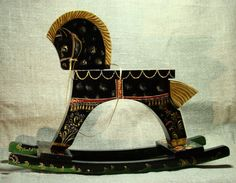 Black horse  painted by hand vintage wooden rocking