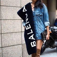 Outfit Of The Day ✔️ #balenciaga Scarf #alexanderwang Oversize Denim Jacket #balenciaga Clutch #casadei Boots Available at #heavenstorebudapest