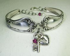 Spoon Bracelet, Silver Heart Lock & Key, Fuchsia Crystals, White Pearls, Valley Rose 1956