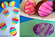 """What a cute idea! Use a potato to make Easter egg prints! """"Easter Egg Potato Stamping Craft for Kids - Sassy Dealz"""" Easter Crafts For Toddlers, Easter Art, Easter Projects, Easter Activities, Easter Crafts For Kids, Toddler Crafts, Easter Ideas, Spring Crafts, Holiday Crafts"""