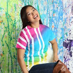Use tape and spray dye to create a bright and cheerful shirt design in minutes! Teen Programs, Dye Shirt, Diy Clothing, Cool Diy, Refashion, Summer Fun, Shirt Designs, Tie Dye, Programming