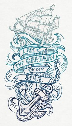 I Am the Captain of my Soul Embroidered by EmbroideredbySue