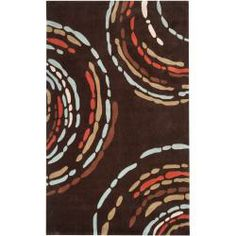 Hand-tufted Contemporary Brown Sprint Geometric Circles Rug (8' x 10')