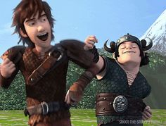 Hiccup and Snotlout dancing out of joy >>	*gif loading* Wait... They're not about to... Oh dear goodness what happened that made them so crazy they'd do THAT....