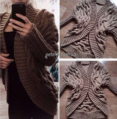 Cardigan from Kos spokes. The circuit description of knitting