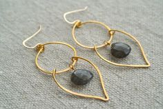 Goldplated wire earrings with 14K gold fill by SilversheepJewelry, $25.00
