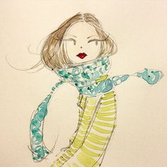 It's almost April & still sportin' a scarf. #brrrr #spring #hairtuck #sketchaday