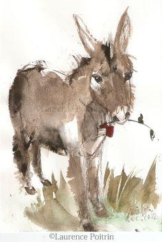Aquarelle âne à la rose - peinture originale - esquisse croquis https://cheval2couleur.wordpress.com/ donkey painting peinture âne Donkey Art