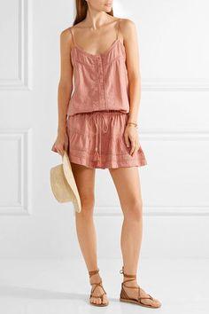 Melissa Odabash - Karen Crochet-trimmed Cotton Mini Dress - Antique rose -