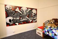 """Wil"" (Skulls and bones theme). Kids Bedroom. 2440mm x 1220mm Panel. May 2015, Lilydale"