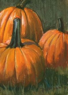 SUNDAY, OCTOBER 23, 2011 Pumpkins Three oil on canvas aceo 2.5 x 3.5 inches