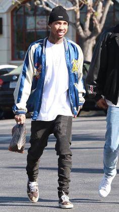 Tyga Wearing Vintage Souvenir Jacket, Represent Jeans And Saint Laurent Sneakers