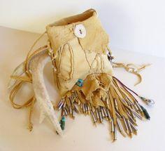 THE NAVAJO (Diné) deerskin leather bag Purse Medicine Bag, Kingman Turquoise, Jingle cones, deer antler, antique beads