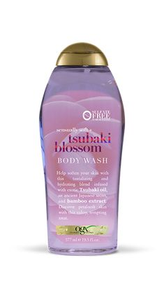 OGX Sensually Soft + Tsubaki Blossom Body Wash helps soften your skin with this tantalizing and hydrating blend infused with exotic Tsubaki oil, an ancient Japanese secret, and bamboo extract. Discover petal-soft skin with this tempting treat. Perfume, Best Smelling Body Wash, Body Cleanser, Skin So Soft, Shower Gel, Body Lotion, Body Soap, Face And Body, Body Care