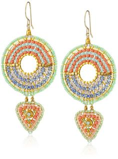 Miguel Ases Beaded Geometric Duo-Drop Earrings