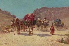 Algérie - Peintre Français Alexis Auguste Delahogue (1867-1950),Huile sur toile 1930, Titre : Caravane Algérienne à El Kantra, Biskra
