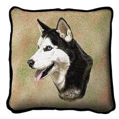 Siberian Husky Dog Portrait Pillow