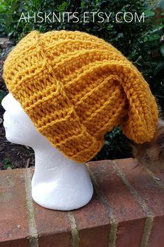 69b473f7d5d Free Domestic Shipping UK  ahsknits  slouchy  pompomhat  mustardyellow   handmade  winter  hat  etsyUK
