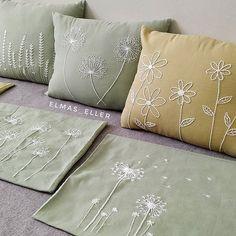 Green Pillow Cover, Fresh Green Queen Ann Embroidery on Cream Pillow, Linen Embroidered Pillow,Throw Pillow Cover 18 x Cushion CoverQueen Ann Throw Pillow Cover By KainKain contemporary pillows. Cushion Embroidery, Embroidery Works, Flower Embroidery Designs, Embroidered Cushions, Learn Embroidery, Hand Embroidery Stitches, Cream Pillow Covers, Sewing Pillows, Throw Pillows