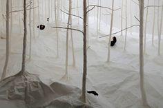 """Wald aus Wald by takashi kuribayashi: """"A Forest Made From Washi Paper by Takashi Kuribayashi"""""""